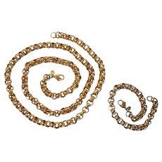 Monet Belcher/Rolo Chain Necklace & Bracelet Gold tone