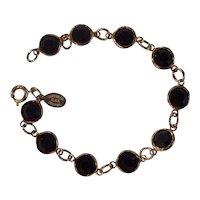 Black Bezel set Austrian Crystal Bracelet Gold tone