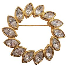 Swarovski early S.A.L. mark Marquise Clear Crystal Circle Brooch Gold tone