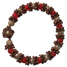 Unsigned Glass Pearl & Red Bead Miriam Haskell Style Bracelet