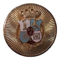 Coro Pegasus Regal Crown Shield Medallion Brooch Enamel Gold tone