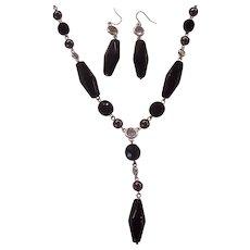Black Glass & Bezel Crystal Anne Klein Carnegie Industries Necklace Earrings Set Silver tone