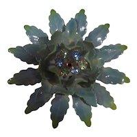 Coro Large Aqua Blue Enamel 3-D Flower Brooch