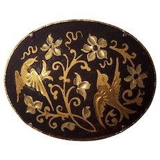 Beautiful Damascene Bird Brooch Gold tone on Black