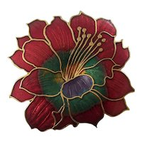 Beautiful Cloisonne Enamel Flower Brooch