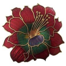 Beautiful Cloisonne Enamel Flower Brooch