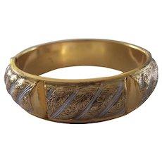 Pretty Damascene Style Hinged Bangle Bracelet Gold tone & White