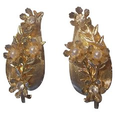 Coro Leaf & Flower Faux Pearl Rhinestone Earrings Gold tone