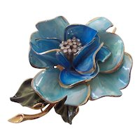 Vendome Beautiful Aqua Enamel & Rhinestone Flower Brooch
