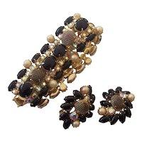 Rare Kramer Netted Black RS Faux Pearl AB Bracelet & Earrings