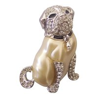 KJL Kenneth Jay Lane Duchess of Windsor Pug Dog Brooch Silver tone