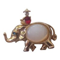 Rare Coro Jelly Belly Elephant with Rider Brooch Gold tone