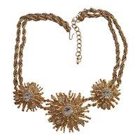 KJL for Avon Necklace Rhinestones in Coral shape Gold tone Kenneth J Lane