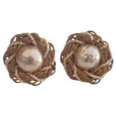 Miriam Haskell Glass Baroque Pearl Braided Gold tone Earrings