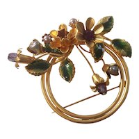 Lovely Flower Brooch w/ Enamel, Rhinestones Faux Pearls, Crystal Gold tone