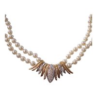 Faux Pearl Double Strand Necklace w/ Gold & Silver tone Rhinestone Centerpiece