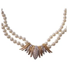 Faux Pearl Double Strand Necklace w/ Gold & Silver tone Rhinestone Centerpiece