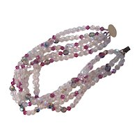 Multi Strand AB Crystal Choker Necklace