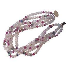 Multi Strand AB Crystal Choker Necklace