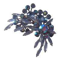 Wonderful Blue Skinny Navettes Rhinestones & AB Flower Spray Brooch Silver tone