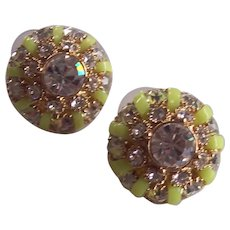 Kate Spade New York Crystal and Yellow-Green Gold tone Pierced Earrings