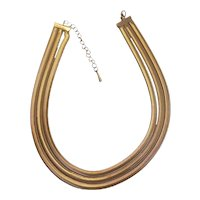 Triple Strand Slinky Snake Chain Necklace Gold tone