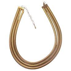 Triple Strand Slinky Snake Chain Necklace Gold tone