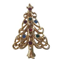 Eisenberg Ice Christmas Tree Pin Gold tone