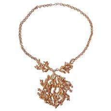 Napier Sculpted Coral Book piece Necklace Gold tone Eugene Bertolli