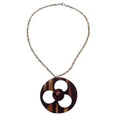 Tortoise shell Lucite Disc Pendant Necklace Gold tone Chain