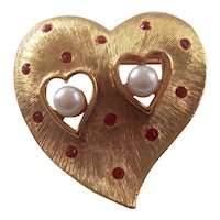 Gold tone Heart Ruby Red RS Faux Pearls J.J. Brooch