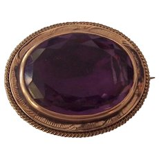 Antique Victorian Gold Amethyst Glass Brooch