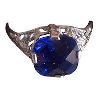10K White Gold Filigree Ring Art Deco Blue Gemstone