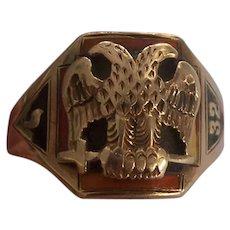 14K Gold Double Eagle 32nd Degree Mason Scottish Rite Ring