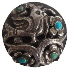 Sterling Silver & Turquoise Bird Brooch Very Vintage