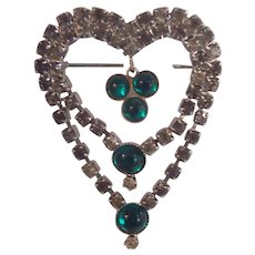 Green Cabochon & RS Double Heart Dangle Brooch