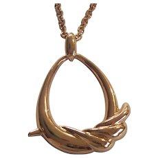 Large Monet Gold tone Pendant Necklace
