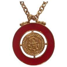 Red Enamel & Gold tone Monet Heraldic Shield Pendant Necklace