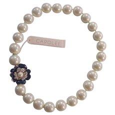 Carolee Faux Pearl Blue Enamel & RS Flower Clasp Necklace