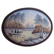 Vint Russian Finift Enamel Porcelain Winter Landscape Scenic Plaque Silver tone Frame