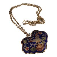 Chinese Cloisonne Heart with Butterfly Puff Pendant Necklace