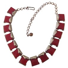 Charel Red Moonglow Thermoset Necklace Choker