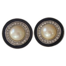 Givenchy Fx Pearl RS & Enamel Silver tone Earrings