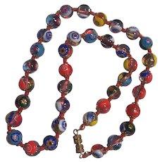Italian Millefiore Glass Beads Necklace