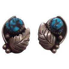 Native American Turquoise Sterling Silver Earrings Leaf