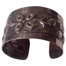 Sanborns Mexican Sterling Silver Repousse Floral Wide Cuff Bangle