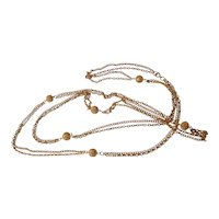 Extra Long Gold tone Filigree Ball Bead and Chain Necklace