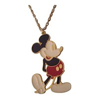 Large Mickey Mouse Enamel Disney Pendant Necklace