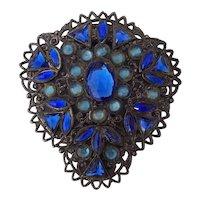 Beautiful Blue Stone Pot Metal Dress Clip Sapphire and Light Blue