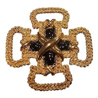 St John Maltese Cross Gold tone Black Enamel Brooch